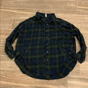 free people distressed flannel